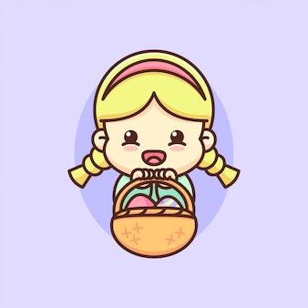 Feliz día de pascua una muchacha linda trae una cesta de huevo paschal.