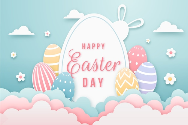 Feliz día de pascua en papel con huevos multicolores