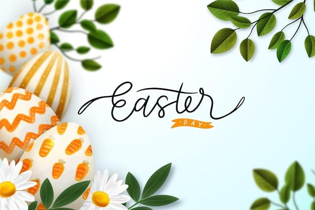 Feliz día de pascua realista huevos y hojas