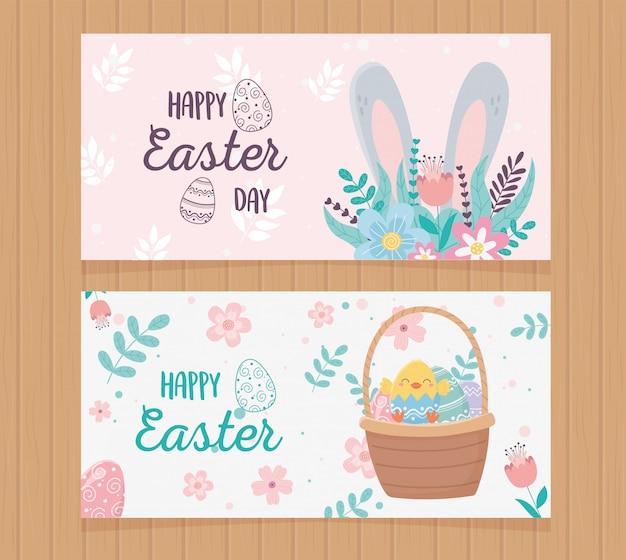 Feliz día de pascua saludo, tarjetas de felicitación flores orejas cesta huevos en madera