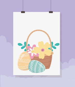 Feliz día de pascua, tarjeta colgante cesta huevos flores follaje