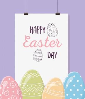 Feliz día de pascua, tarjeta colgante decoración de huevos pintados