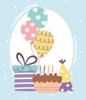 Feliz día, pastel con globos de caja de regalo e ilustración de sombrero de fiesta
