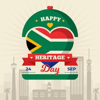 Feliz día del patrimonio con corazón y bandera