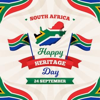 Feliz día del patrimonio con mapa y bandera