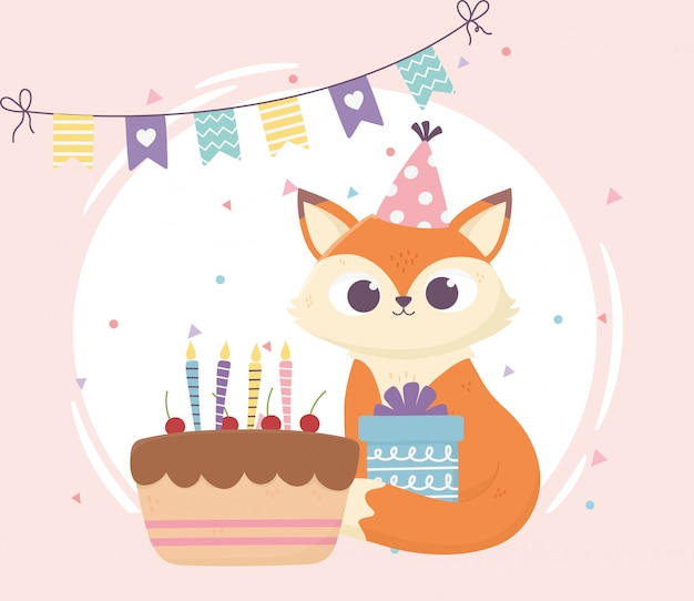 Feliz día, pequeño zorro sentado con ilustración de regalo y pastel