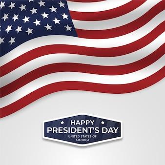 Feliz día del presidente con bandera y estrellas