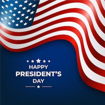 Feliz día del presidente con bandera