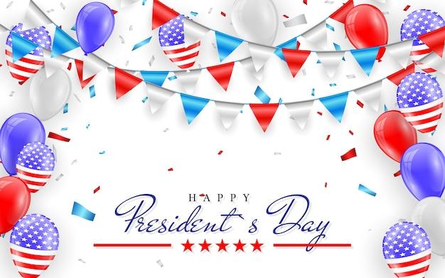 Feliz día del presidente. banderines colgantes para tarjetas de vacaciones americanas. globos de bandera americana con fondo de confeti.