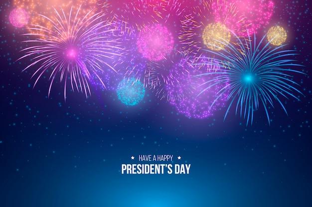 Feliz día del presidente con coloridos fuegos artificiales