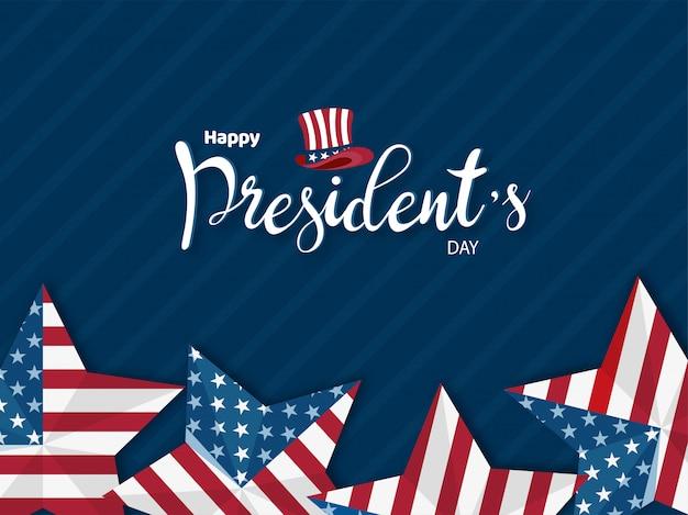 Feliz día del presidente diseño de banner o cartel