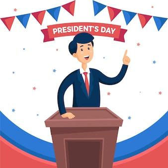 Feliz día del presidente diseño plano