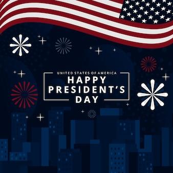 Feliz día del presidente con fuegos artificiales y bandera