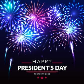 Feliz día del presidente con fuegos artificiales en la noche.