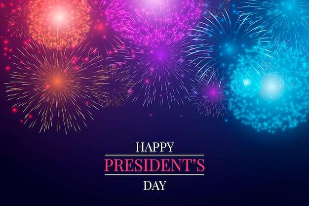 Feliz dia del presidente con fuegos artificiales