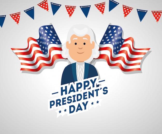 Feliz día de los presidentes con banderas de estados unidos y guirnaldas