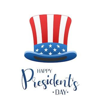Feliz día de los presidentes de diseño con sombrero de tio sam letras caligráficas