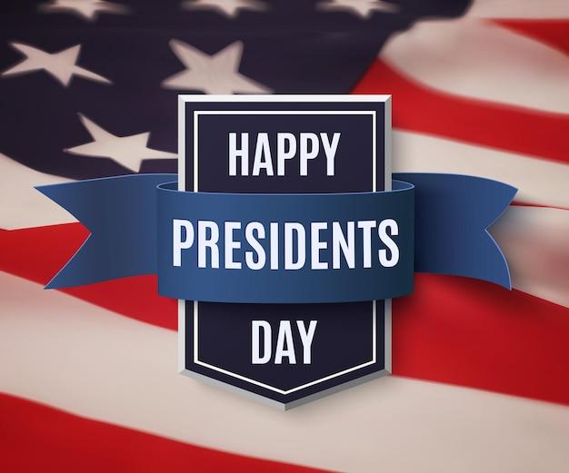 Feliz día de los presidentes. insignia con cinta azul sobre bandera americana