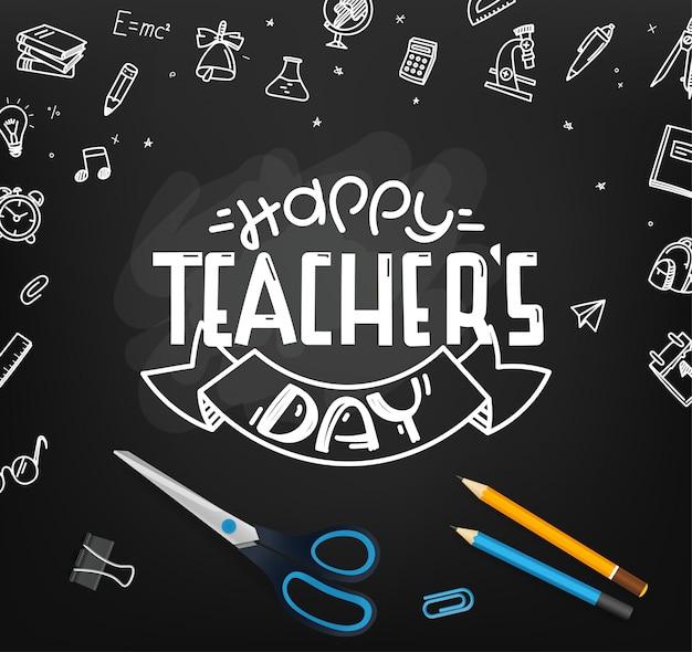 Feliz día del profesor. pizarra escolar con elementos de doodle