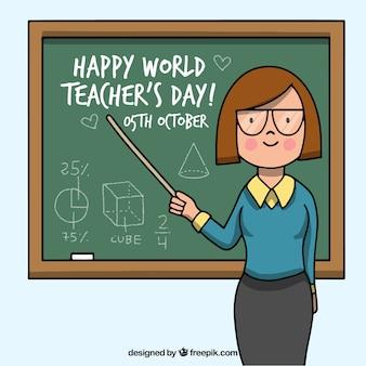 Feliz día del profesorado, profesora señalando a la pizarra