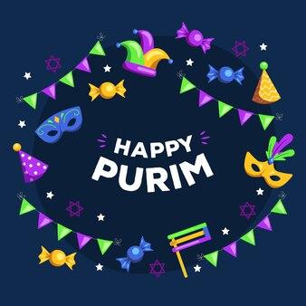 Feliz día de purim banner con guirnaldas