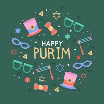 Feliz día de purim en diseño plano