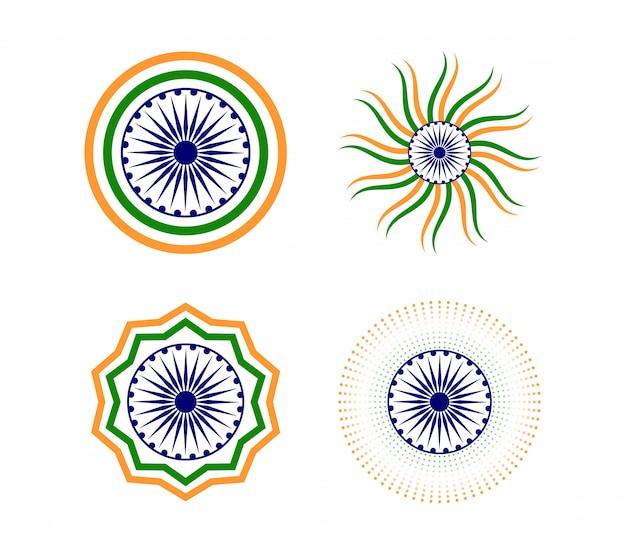 Feliz día de la república india conjunto de iconos de elementos
