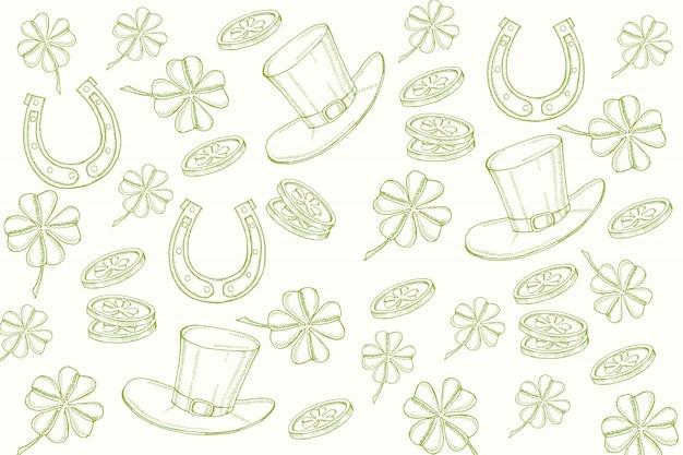 Feliz dia de san patricio. fondo con símbolos dibujados a mano en estilo boceto objetos de grabado.