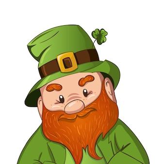 Feliz día de san patricio ilustración. dibujado a mano leprechaun cgaracter con hoja de trébol verde. ilustración.
