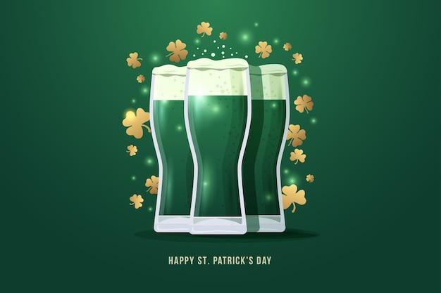 Feliz dia de san patricio. imagen de tres vasos de cerveza con hojas de trébol de oro sobre fondo verde. ilustración.