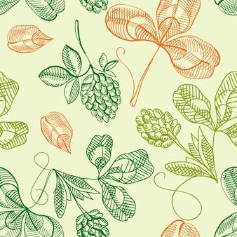Feliz día de san patricio de patrones sin fisuras con trébol dibujado a mano y trébol de cuatro hojas