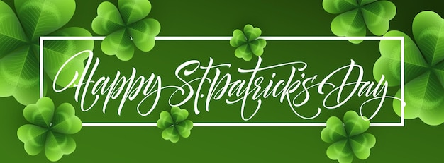Feliz día de san patricio saludo letras sobre fondo de hojas de tréboles. ilustración