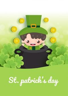 Feliz día de san patricio y tarjeta de felicitación con verde y oro cuatro y hoja de árbol en papel cortado estilo.