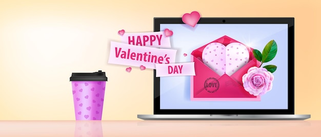Feliz día de san valentín amor banner con pantalla de portátil, taza de café, sobre rosa, tarjeta de felicitación en forma de corazón.