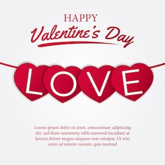 Feliz día de san valentín amor banner