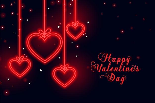 Feliz día de san valentín amor neón corazones tarjeta de felicitación