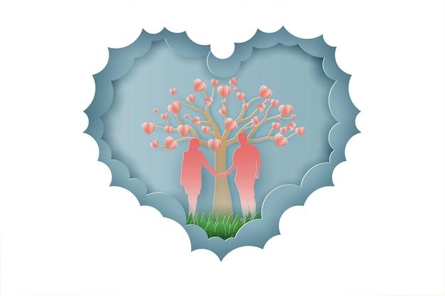 Feliz día de san valentín amor de pareja y estilo de corte de papel de árbol.