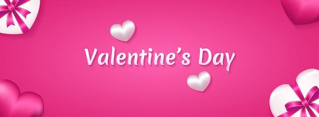 Feliz día de san valentín con amor realista de estilo 3d, ilustración de caja de regalo.