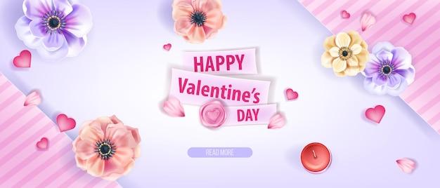 Feliz día de san valentín amor vector de fondo, tarjeta de felicitación o cartel promocional con flores de anémona. banner floral romántico de febrero de vacaciones con pétalos, corazones. fondo rosa del día de san valentín