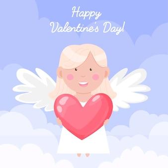 Feliz dia de san valentin. ángel con corazón en las nubes.