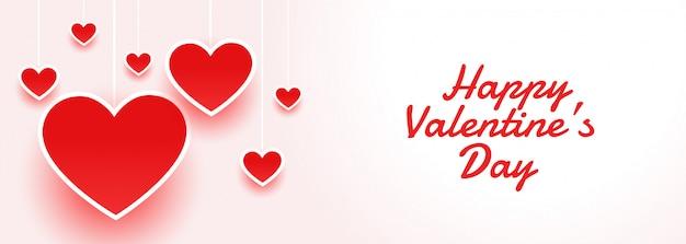 Feliz día de san valentín atractivo banner con corazones