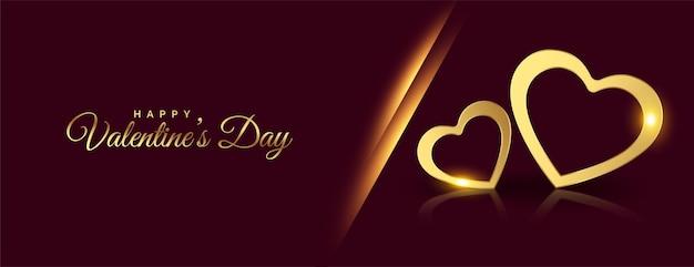 Feliz dia de san valentin banner de corazones dorados