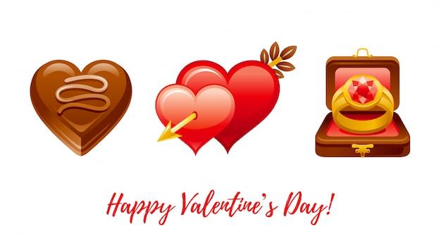 Feliz día de san valentín banner. dibujos animados lindo corazón de chocolate, corazones con flecha, anillo en caja.
