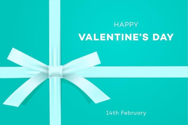 Feliz día de san valentín banner dulce fondo azul tiffany