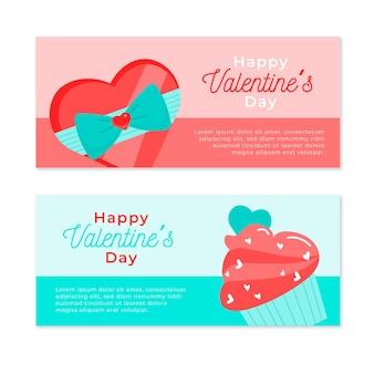 Feliz día de san valentín banner con dulces y chocolate