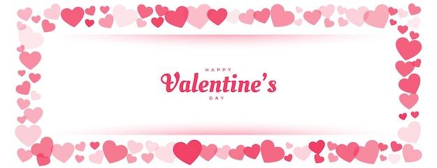 Feliz día de san valentín banner de marco de corazón rojo