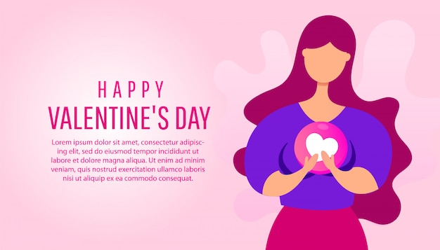 Feliz día de san valentín banner con una mujer joven con forma de corazón en sus manos