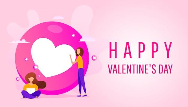 Feliz día de san valentín banner con niñas en el fondo de una forma de corazón rosa.