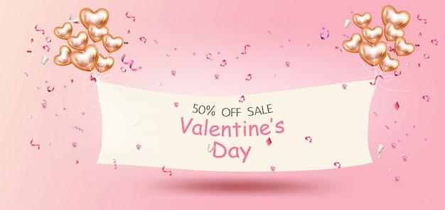 Feliz día de san valentín, banner de promoción de venta