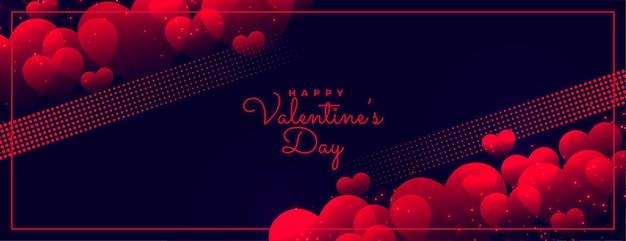 Feliz día de san valentín banner que brilla intensamente oscuro
